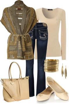 """""""~Devine~"""" by mels777 ❤ liked on Polyvore   short sleeve/sleeveless cardigan over a long sleeve tee and jeans"""
