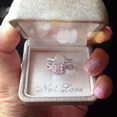 Neil Lane princess cut engagement ring and wedding band #love ❤
