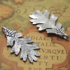 TierraCast Oak Leaf Mini Charms 10 Pieces Antiqued Silver Plated Pewter 7412