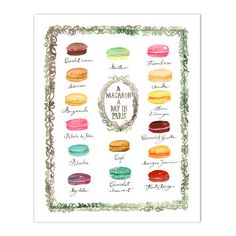 """A macaron a day in Paris Kitchen art print from my watercolor illustration. French macaroon flavor chart poster. Paris inspiration ! Printed on fine art """" BFK Rives """" hot-pressed paper, smooth surface"""