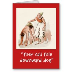 Use your imagination to give this funny card an edgy or risque caption!  An antique circus poster provides the art, featuring an acrobat and a clown.   It's so easy to edit the text!  Cards come in two sizes, with envelopes.  Postcards have no envelopes.  And don't forget the matching postage!