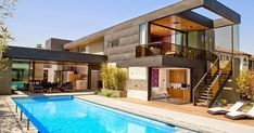 Two-Level Pool House in Los Angeles With a Cheerful Vibe Modern pool house in L. Modern pool house in L. Modern Pool House, Modern Pools, Modern House Design, Contemporary Design, Architecture Design, Residential Architecture, Design Architect, Amazing Architecture, Exterior Wall Cladding