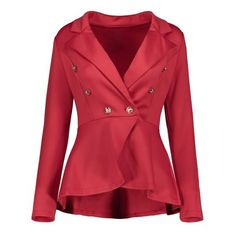 High Low Buttoned Blazer ($24) ❤ liked on Polyvore featuring outerwear, jackets, blazers, twinkledeals, button jacket, red jacket, button blazer, red blazers and blazer jacket