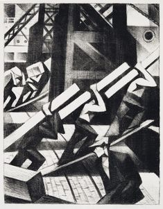 crw-nevinson Loading the ship 1917 Lithograph Bond Street, Prints For Sale, First World, Printmaking, Industrial, Events, War, Ship, Black And White