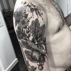 @damasktattoo #tattoos #tattooed #tattooer #tattooist #tattooartist  #seattleartist #seattletattoo #seattletattooartist #workinghard #drawing #fun #illustrator #linework #artist #blackwork #blackworkers #blacktattoo #illustration #art #flora #floral #flowers #flowerstattoo #veggies #garden #carrot #beet #vegetables