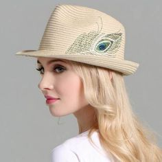 Peacock feather Embroidered straw panama hat for women summer beach hats.  Panama Hat WomenBeach HatsTop Hats For WomenWide Brim Sun ... 79987a90191a