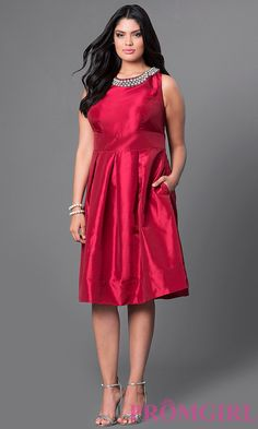 c7c2fdcc56f Wine Red Satin Knee-Length Plus Dress. Plus Size Formal DressesPlus ...