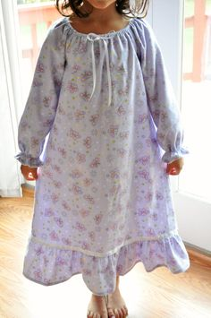 Girls Flannel Nightgown// Long Sleeved Peasant by RoseAndRuffle, $29.00