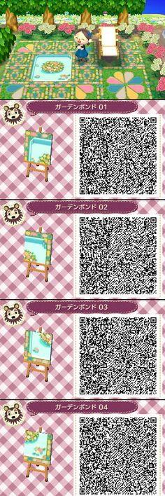 Animal Crossing New Leaf QR codes cute garden pond