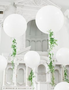 Presentation is key. What a beautiful whimsical way to decorate your tables or the ceremony. The green foilage adds a nice clean contrast to the big white balloons.