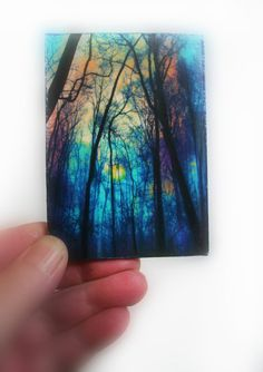 Winter fog 2.50x3.50 inches Aceo Original by Gina Signore #Aceo art #Aceo originals #Artist trading cards #miniature tree art #trees