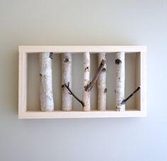 "white birch forest wall art is handmade using reclaimed Maine white birch woods.    16"" x 9"" x 2 1/2""."