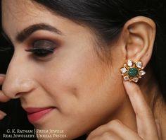 Karnfool - New Ideas Jewelry Design Earrings, Gold Earrings Designs, Gold Jewellery Design, Gold Jewelry Simple, Indian Earrings, Enamel Jewelry, Indian Bridal, Diamond Jhumkas, Diamond Earrings