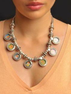 Hand-Painted Ganesha Avatars Necklace www.jaypore.com
