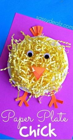 Paper Plate Chick Craft Using Easter Grass.Make an adorable paper plate chick craft for Easter using yellow Easter grass! It's the perfect art project for a farm activity or just the holiday. Easter Projects, Easter Art, Easter Crafts For Kids, Toddler Crafts, Easter Ideas, Easter Eggs, Children Crafts, Easter Table, Easter Decor