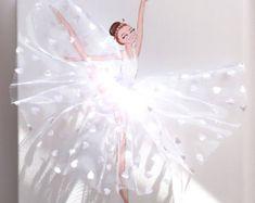 Ballerina Nursery Decor, la stanza della ragazza Wall Art, ballerina in Tutu bianco arte, pittura del ballerino di balletto, Baby Shower Gift