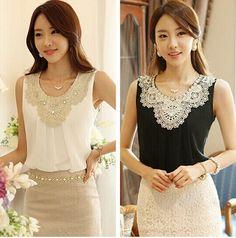 2015 Mulheres Blusa Chiffon Dobras Colete Sem Mangas das Mulheres de Roupas de Moda Rendas de Croché Blusa Escritório Camisas Plus Size Blusa Branca