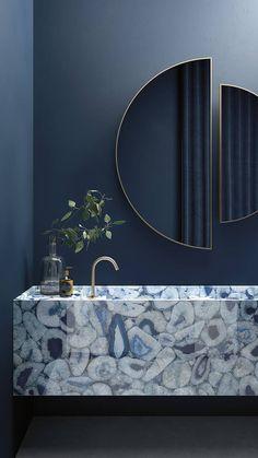 Agata blu Agata maximum, blue marble/granite effect porcelain tiles Washroom Design, Bathroom Design Luxury, Modern Bathroom Design, Home Interior Design, Washroom Tiles, Bathroom Design Inspiration, Interior Inspiration, Design Ideas, Bar Deco