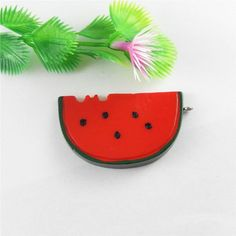 10pcs Red Watermelon Slice With Black Dots Resin Pendant Jewelry Accessory 51611