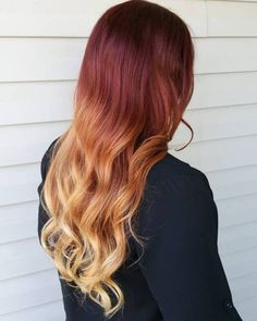 60 Best Ombre Hair Color Ideas for Blond, Brown, Red and Black Hair - ombre Haar Red Blonde Ombre, Black Hair Ombre, Best Ombre Hair, Red Blonde Hair, Brown To Blonde, Ombre Hair Color, Blonde Highlights, Chunky Highlights, Caramel Highlights