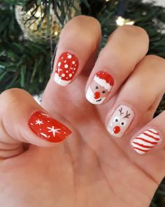Christmas Gel Nails, Christmas Nail Designs, Christmas Nail Art, Holiday Nails, Cute Acrylic Nails, Cute Nails, Pretty Nails, Nail Art Hacks, Nails Inspiration