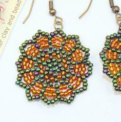 Seed bead earrings Dangle earrings green and by rivervalleydesign, $20.00