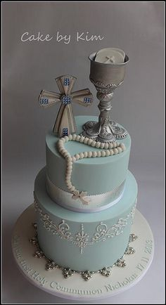 Blue, Silver and White First Holy Communion Cake Boy Communion Cake, First Holy Communion Cake, Fondant Cakes, Cupcake Cakes, Confirmation Cakes, Baptism Cakes, Religious Cakes, Occasion Cakes, Cakes For Boys