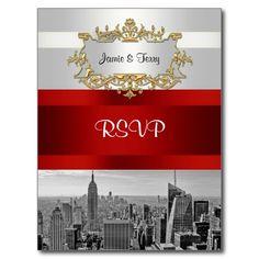 NYC Skyline BW 05 White Red RSVP Postcard