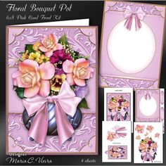 Floral Bouquet Pot 6x8 Mini Kit on Craftsuprint designed by Maria Christina Vieira  - Floral Bouquet Pot 6x8 Mini Kit ,Approx. 6x8 inch card front four sheet mini kit,Included in this beautiful floral bouquet kit, matching insert, TAG, Topper, and embellishments for decorate, Sentiment labels with one blank.Sentiment Labels: To Someone Special, Happy Birthday, With Love, Happy Mother's Day, Best Wishes, - Now available for download!