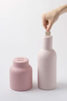 """Great recycle idea for all those glass jars and bottles...  """"Nendo Pyggy Bank""""      A wine bottle is our piggy bank. This is cuter!"""