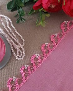 How To Make Fantastic Beaded Crochet Needlework Pattern That Will Crack From Jealousy - Pink blooming flowers beaded crochet lace - Crochet Lace Edging, Crochet Borders, Bead Crochet, Crochet Necklace, Knitted Shawls, Baby Knitting Patterns, Beaded Flowers, Crochet Flowers, Crochet Projects