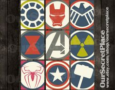 Avengers Logo Symbols Wall Art Decor by OurSecretPlace, $10.99 Featuring Iron Man, Arc Reactor, Shield, Spiderman, Captain America, Thor, Hulk, Black Widow and the Avengers Logo.