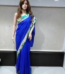 Buy blue printed art silk saree with blouse below-1500 online