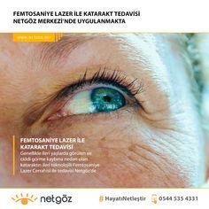 FEMTOSANİYE LAZER İLE KATARAKT TEDAVİSİ. Genellikle ileri yaşlarda görülen ve ciddi görme kaybına neden olan Katarak hastalığının ileri teknolojili Femtosaniye Lazer Cerrahisi ile tedavisi Netgöz'de. Katarakt tedavisi ile birlikte ayrıca tüm mesafelerdeki (miyop, hipermetrop, astigmat, presbiyopi) görme problemlerinden kurtulabilir gözlüklerinize elveda diyebilirsiniz.    Tüm Göz Problemleriniz İçin 👉 netgoz.net'i ziyaret ediniz.  🌐 www.netgoz.net   📱 WhatsApp: 0544 535 4331   📞 Telefon: 023 Laser Eye Surgery, Eyes, Cat Eyes