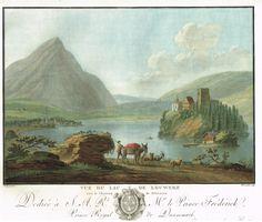 Vue du lac de Louwerz avec le château de Schwanau - Aquatinte - gravure imprimée en couleurs par Charles-Melchior DESCOURTIS (1753-1820) d'après Caspar WOLFF (1735-1798) - MAS Estampes Anciennes - MAS Antique Prints
