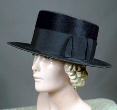 BLACK FUR FELT EARLY 1900's VINTAGE LOW CROWN TOP HAT - GAGE BROTHERS - For sale at RPVINTAGE.COM