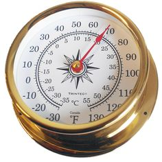 """OMNI-03   Features:  Solid brass with lacquered finish Scratch-resistant acrylic lens Dial Diameter: 3.5"""" Weight: 8 oz. One-year manufacturers warranty   $80.00"""