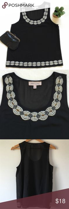 """{ Philosophy} Sheer Beaded Blouse Beautiful black tank with intricate beaded detail. Scoop neck. Sheer. 19"""" pit to pit. 25"""" shoulder to bottom of hem. ( Small snag on back of tank. See photo 4). Philosophy Tops Blouses"""