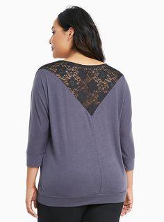 Plus Size Lace Back Banded Bottom Top,