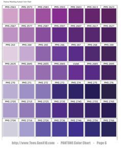 Pantone Color Chart Pms Purple Shades Of