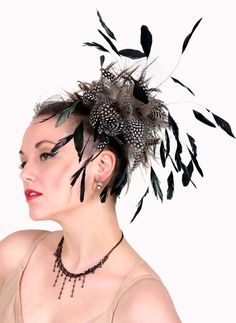 Custom Made Black White and Grey Feather Fascinator by taissalada