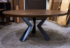 A Custom Round Walnut Dining Table with Welded Steel Angled Knee Legs - Solid Kiln Dried Hardwood - Handcrafted Heirloom Quality Furniture Formal Dining Tables, Modern Dining Table, Round Dining Table, Modern Table Legs, Steel Table Legs, Slab Table, Walnut Dining Table, Porch Furniture, Furniture Legs