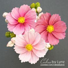 Icing Flowers, Gum Paste Flowers, Fondant Flowers, Sugar Flowers, Cake Decorating Techniques, Cake Decorating Tutorials, Fondant Flower Tutorial, Daisy Cakes, Cold Porcelain Flowers