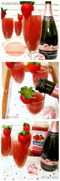 Strawberry Crush Mimosas.  Perfection! {The Cookie Rookie}