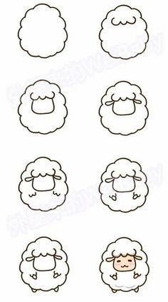 sheep drawing step by step - sheep cute step drawing . - Cute sheep drawing step by step - sheep cute step drawing . - Cute sheep drawing step by step - sheep cute step drawing . Easy Drawing Tutorial, Cute Easy Drawings, Kawaii Drawings, Doodle Drawings, Drawing Sketches, Drawing Ideas, Simple Drawings For Kids, Drawing Drawing, Simple Cartoon Drawings