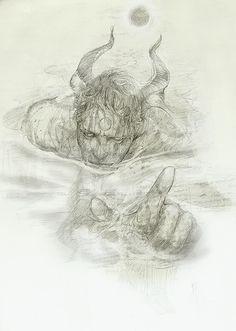http://anebarone.com/ - ocultismo e mitologia - desenho de um demonio ou satiro feito a lapis | traditional drawing of a demon