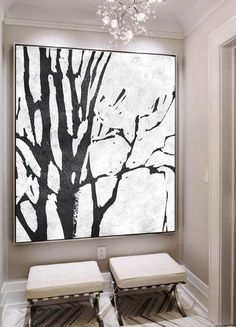 Hand painted black and white painting MN7A, abstract tree, minimalist painting for modern interiors and neutral home. Celine Ziang Art (CZArtDesign.com)