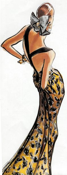 Valentino in the illustration by Stefano Canulli. Arte Fashion, Moda Fashion, Trendy Fashion, Ideias Fashion, Vintage Fashion, Fashion Design, 80s Fashion, Illustration Mode, Fashion Illustration Sketches
