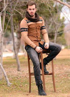 Erkek Gömlek Kadife Triko Kol Kahve 524 | Modelleri ve Uygun Fiyat Avantajıyla | Modabenle