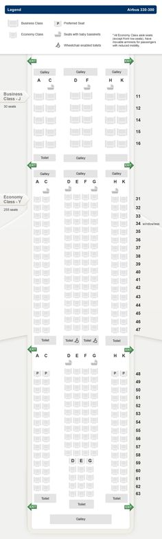 SINGAPORE AIR AIRLINES AIRBUS A330-300 AIRCRAFT SEATING CHART